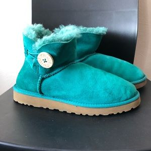 ugg mini bailey button green/ teal 7